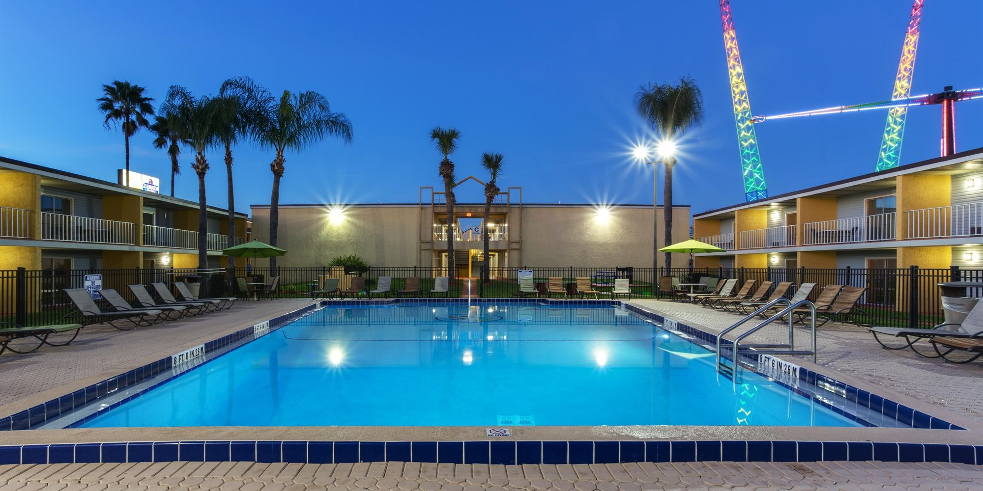 The pool at our afforable hotel in Kissimmee