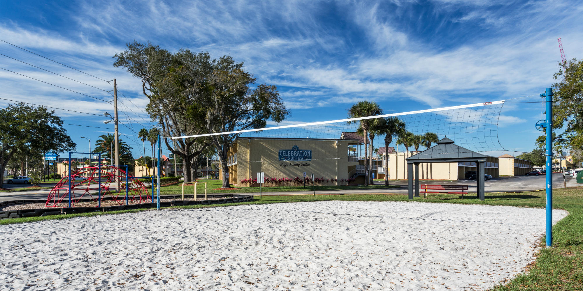 Our volleyball court at the afforable hotel in Kissimmee